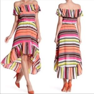 New $128 Bright Striped High Low Dress